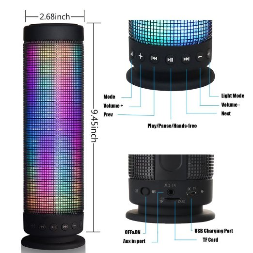 10w Hi Fi Portable Wireless Bluetooth 4 0 Speaker 5 Led