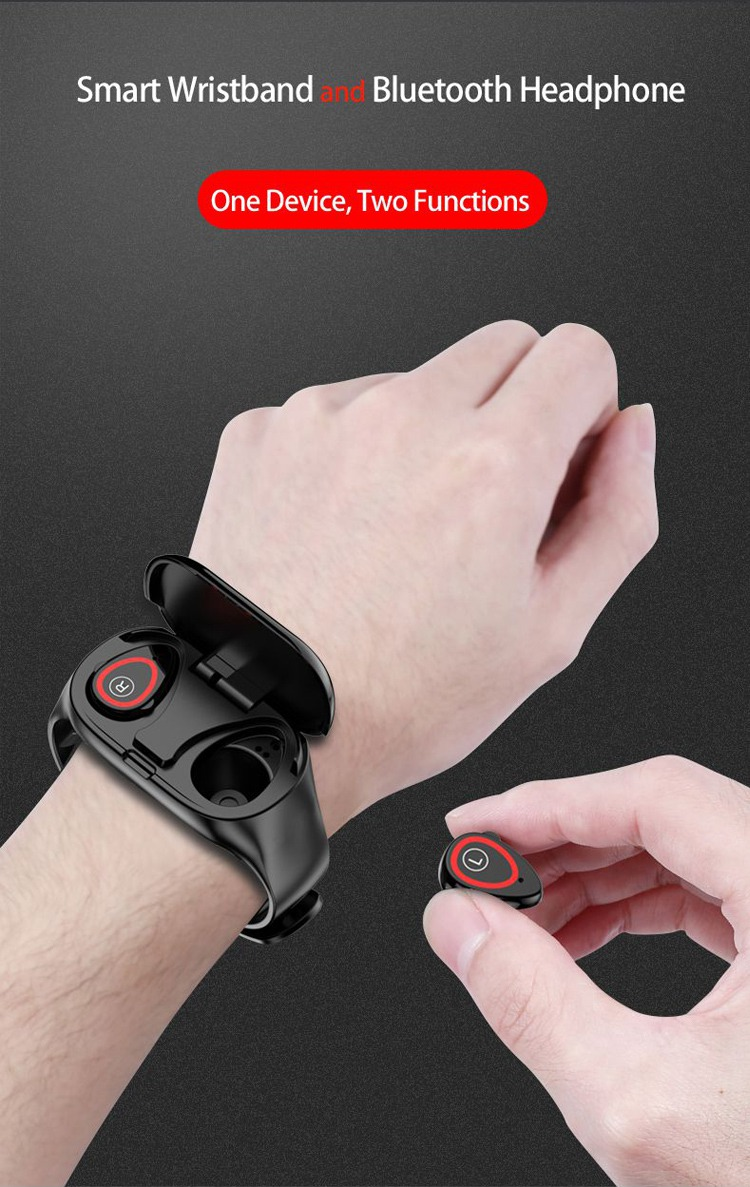 Smart Wristband With Wireless Earbuds