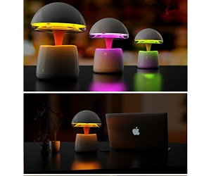 Portable 7 LED Colors Changes 360 Degree IR Remote Control Night Light With Intelligent Alarm Clock Bluetooth Speakers Mushroom