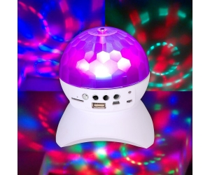 RGB Color Changing LED Crystal Ball Auto Rotating  Wireless Bluetooth Speaker